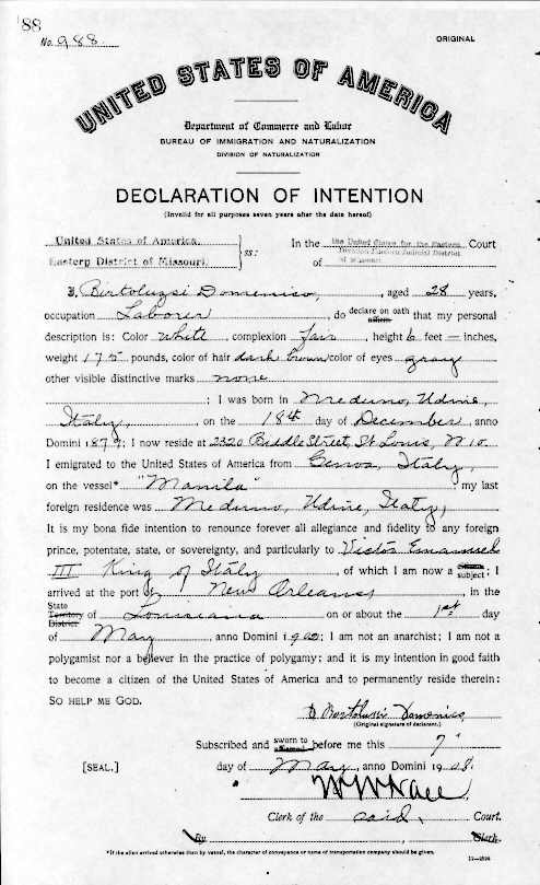 Sample images of naturalization record documents | St. Louis County ...