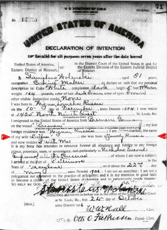 Sample images of naturalization record documents st louis stanislaus wolenski in mid 1916 declaration forms began recording information about the wives of married declarants yadclub Gallery